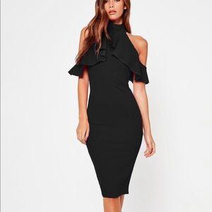 Black Frill Cold Shoulder Bodycon Midi Dress